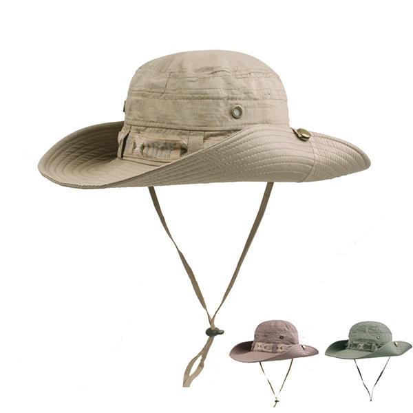 Hommes Été Thin Breathable Bucket Hat Extérieur Climbing Anti-UV Wide Brim Visor Cap