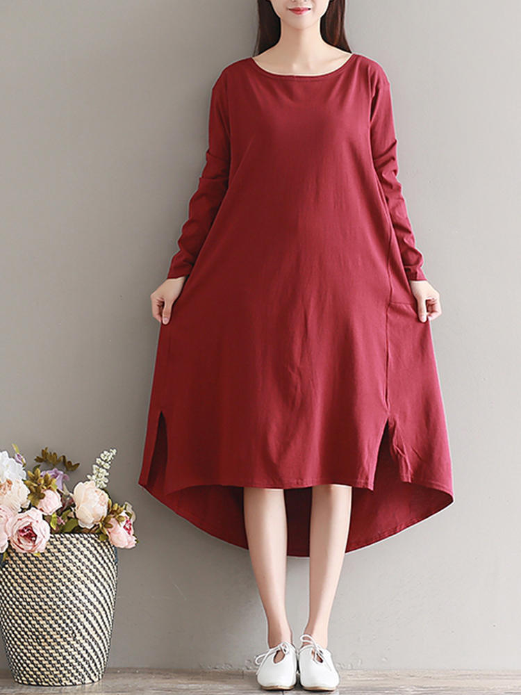 Casual Women Pure Color Long Sleeve Split Dip Hem Dress