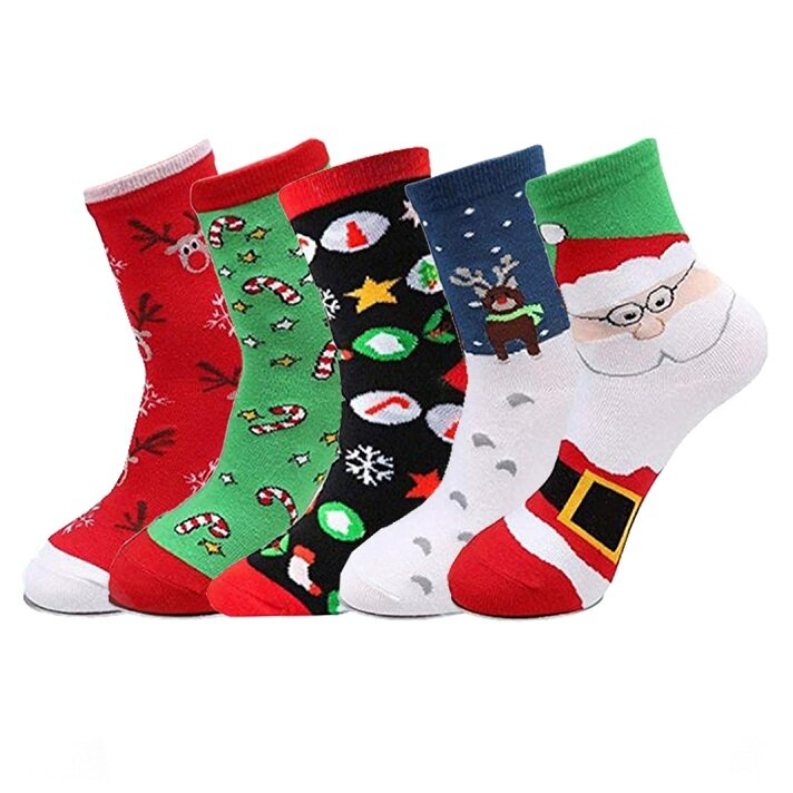 5 Pairs Of Socks Christmas Crew Theme Socks Sports Fitness Slimming Outdoor Sock Warm Breathable Socks