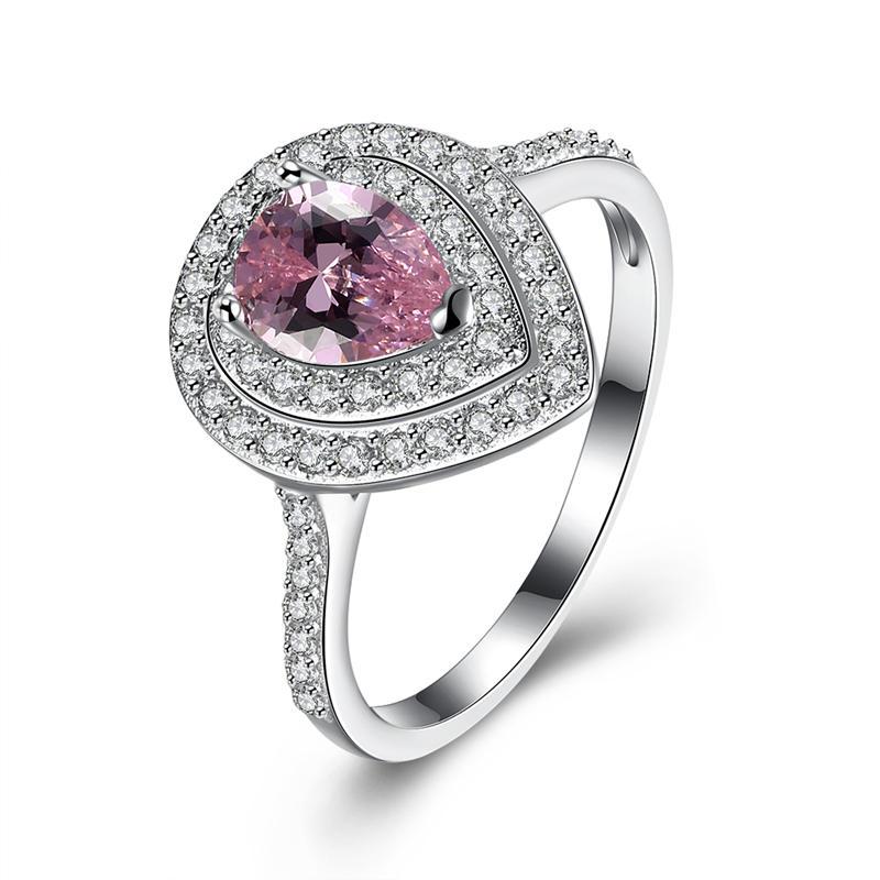INALIS 925 Sterling Silver Luxury Women Ring Sweet Pink Gemstone Drop Shape Fine Anniversary Gift