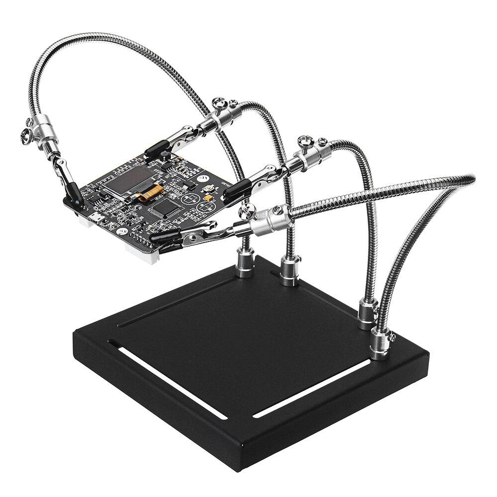 YP-001 Universal Estación de Soldadura de 4 Brazos Flexibles PCB Manos de Apoyo de instalación con ba<x>se de me<x>tal