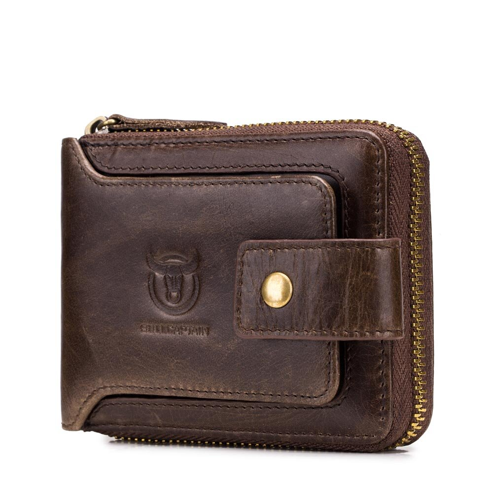 Bullcaptain RFID Antimagnetic Vintage Genuine Leather 11 Card Slots Coin Bag Zipper Wallet For Men