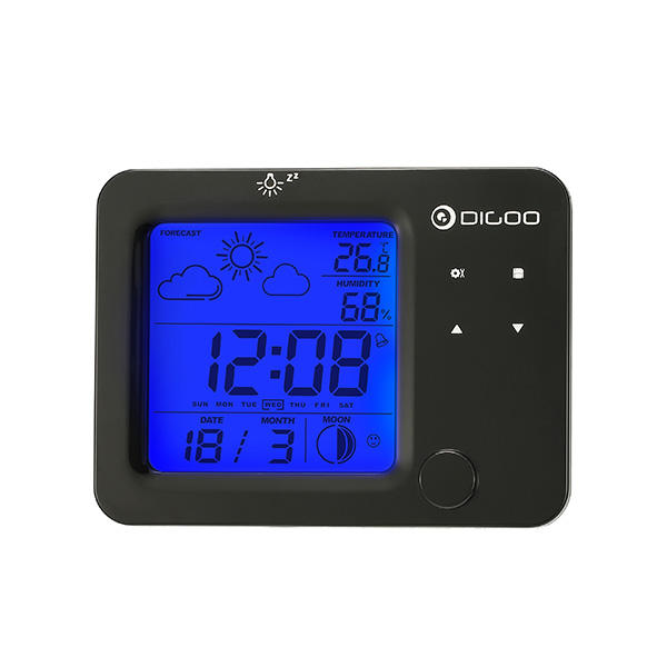 [2019 Third Digoo Carnival] Digoo DG-C5 Wireless Blue Backlit Hygrometer Thermometer Weather Forecast Station Touch Sensor Alarm Clock