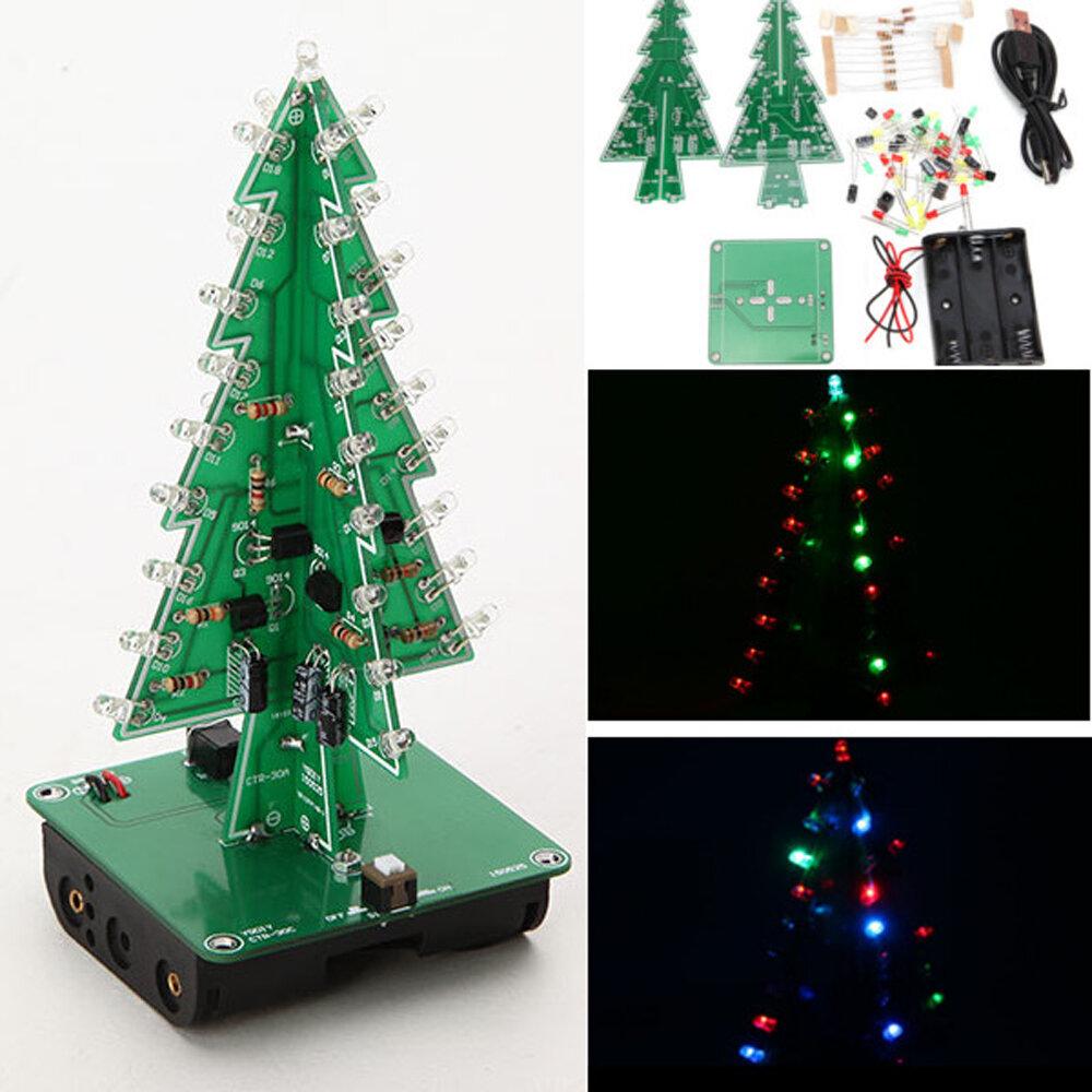 Geekcreit Diy Christmas Tree Led Flash Kit 3d Electronic Learning