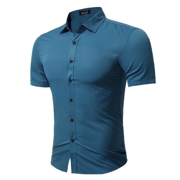 Plus ขนาดแฟชั่นสไตล์ลำลองสีทึบสไตล์เรียบง่ายเสื้อแขนสั้นเสื้อสำหรับผู้ชาย