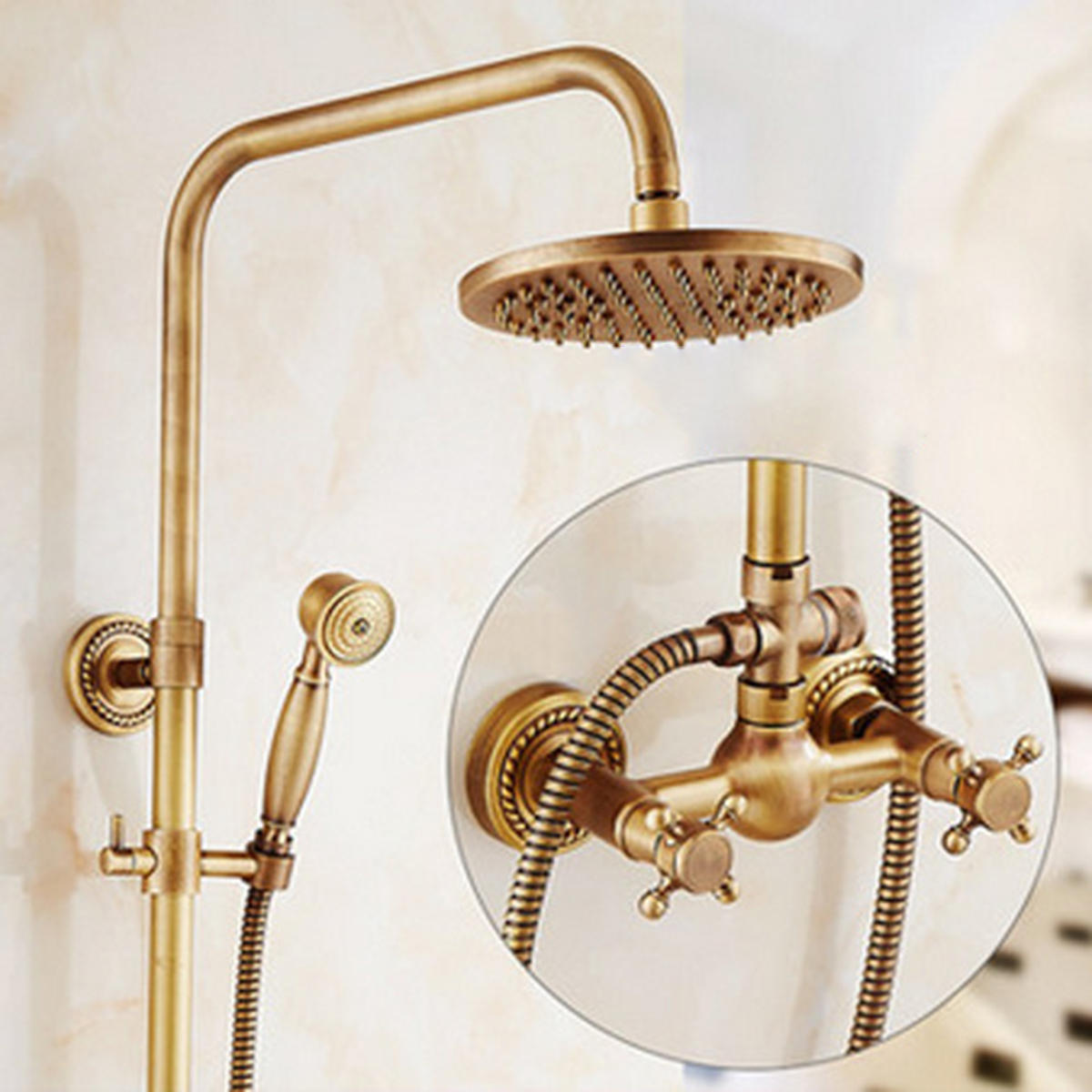Antique Brass Bath Rain Shower Mixer Tap Rainfall Shower Head Kit