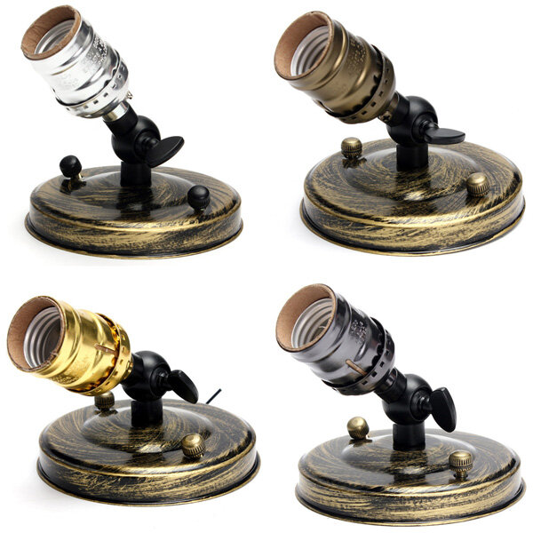 E27 E26 Edison Vintage Light Bulb Socket Silver Golden Green Patina Black Holder 110 240v Cod