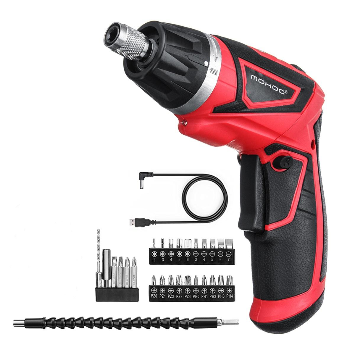 MOHOO 3.6V 2000mAh USB Cordless Electric Screwdriver Power Screw Driver Tool with 28 Accessories
