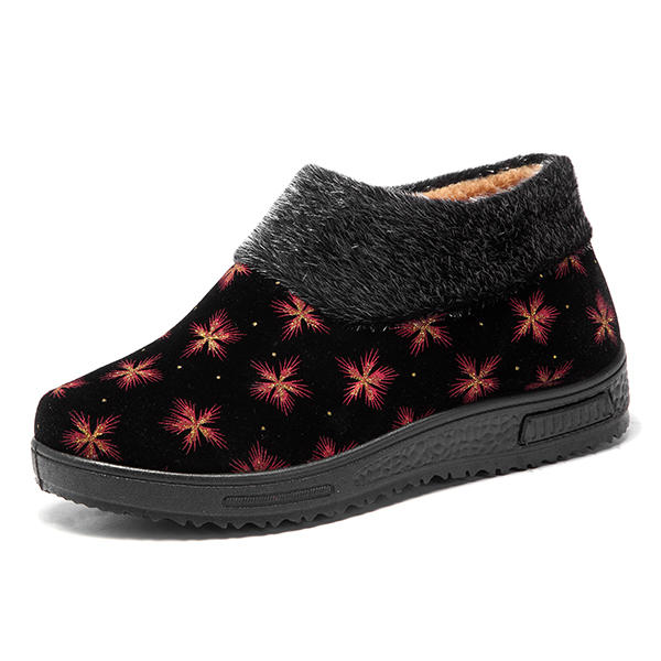Ankle Boots Comfy Casual Slip On Fur Lining Flats For Women