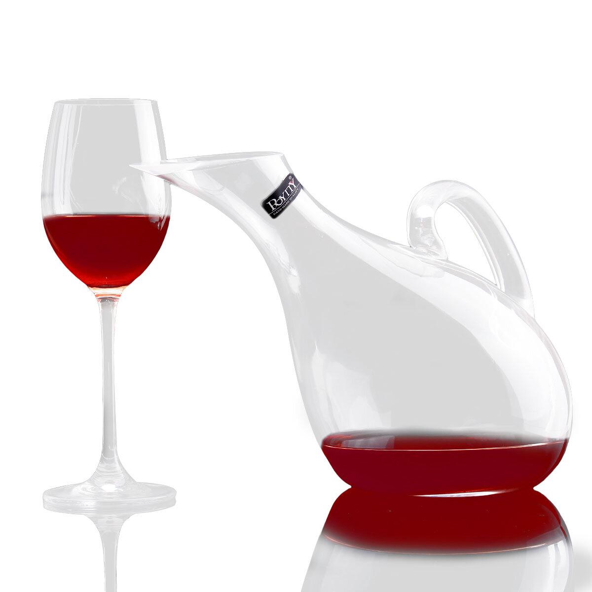 Swan Kristal Şarap Cam Şarap Decanter Yapay Üfleme Manuel Soğuk Kesim kurşunsuz Kristal Şarap Şişesi Pourer 1200 ml Swan Tarzı Arp Şekil Şeffaf Şarap Decanter