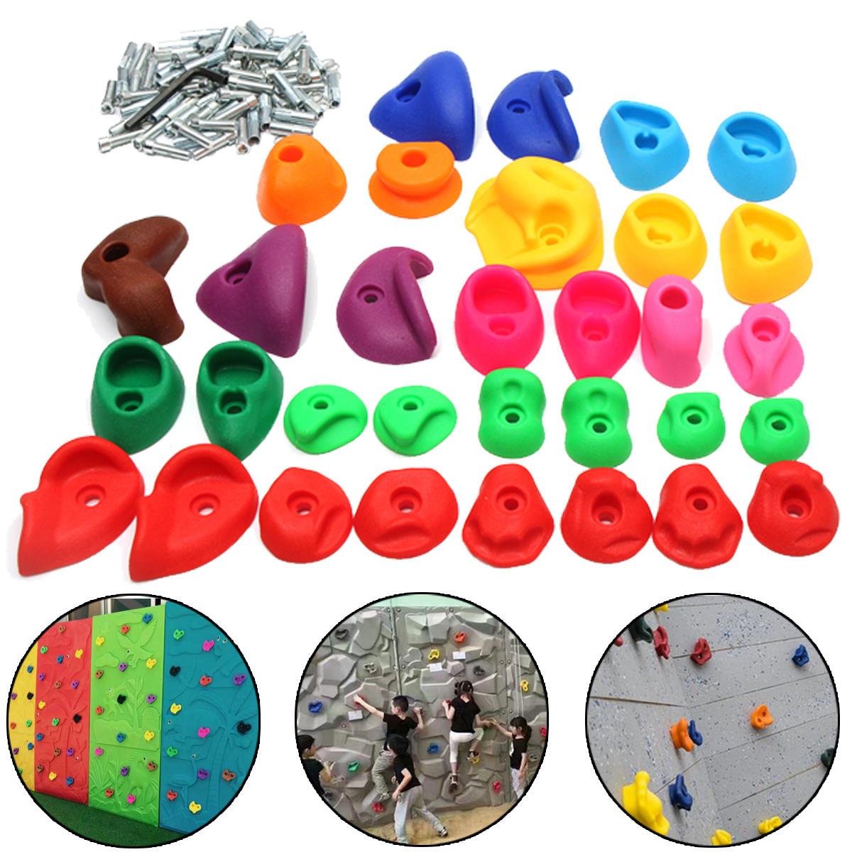 Children's Climbing Wall Stones Holds Hand Feet Starter Kit Rock Holder w/Screws