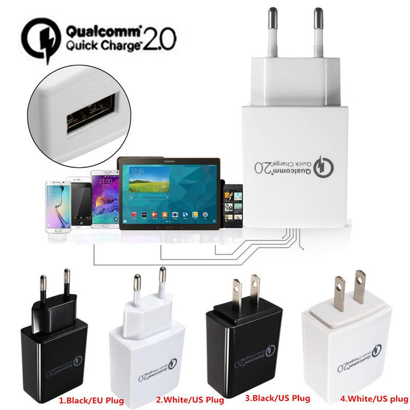 Quick Charge QC 2.0 15W USB-wand Reislader Adapter