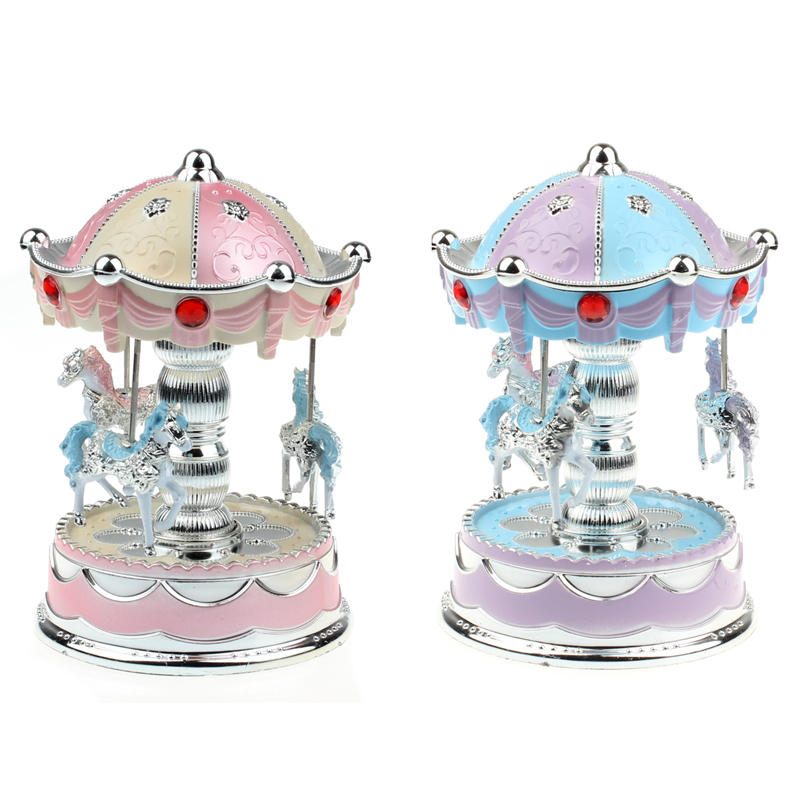 Merry-Go-Round Carousel Music Box with Light For Gift Decoration Toy