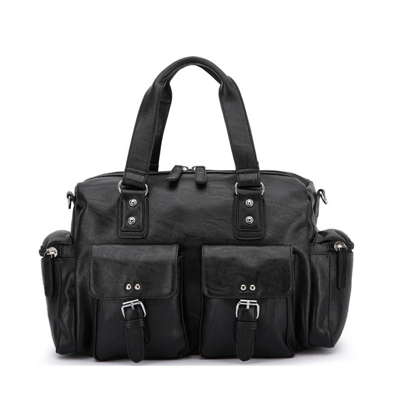 <b>Men</b> PU Leather Solid <b>Vintage Large Capacity</b> Handbag ...