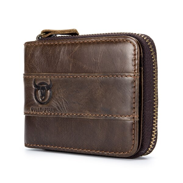 Bullcaptain RFID Antimagnetic Vintage Genuine Leather 11 Card Slots Coin Bag Wallet For Men COD