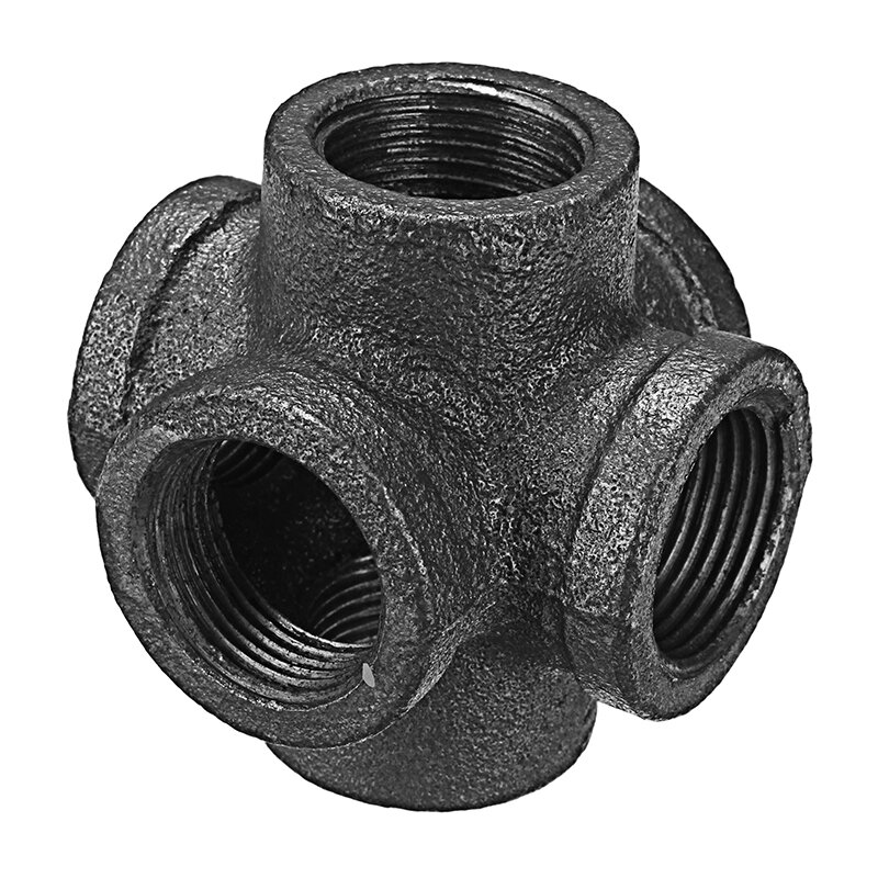 "1/2"" 3/4"" 1"" 6 Way Pipe Fitting Malleable Iron Black Double Outlet Cross Female Tube Connector"