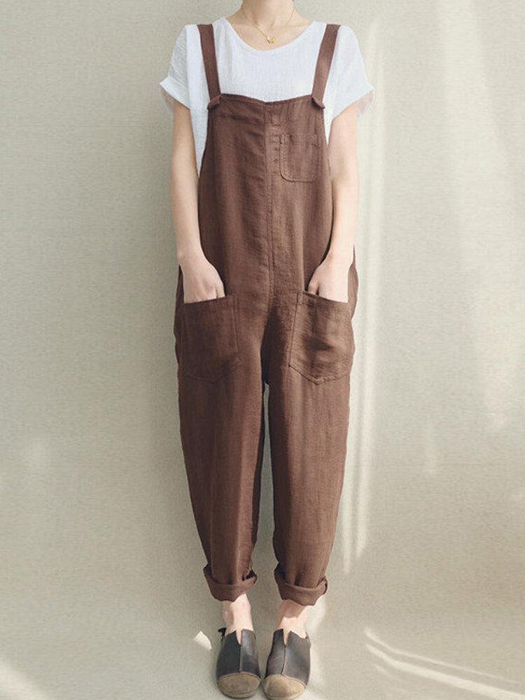 b46c68bd31f Women Solid Color Linen Cotton Strappy Pocket Loose Harem Jumpsuit COD