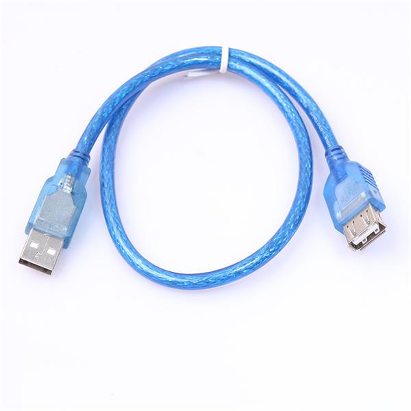 투명 블루 USB 2.0 유형 A 여성 연장 케이블 남성