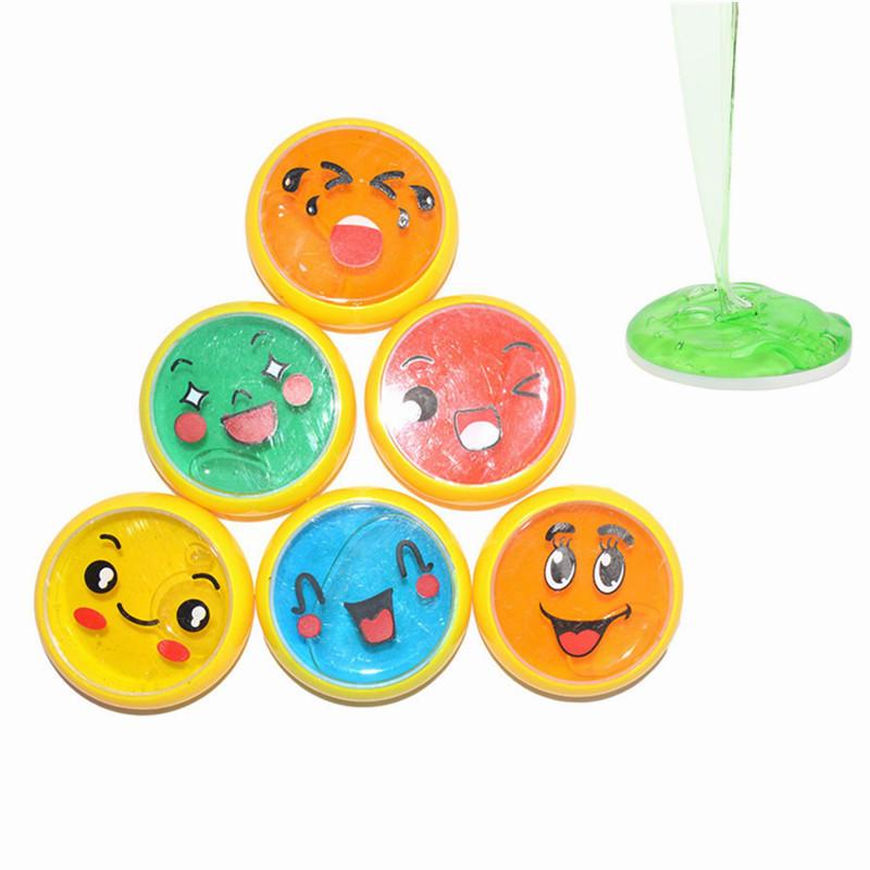 6PCS 이모티콘 얼굴 점액 6cm DIY 크리스탈 클레이 고무 진흙 지능형 손 껌 Plasticine 장난감 선물