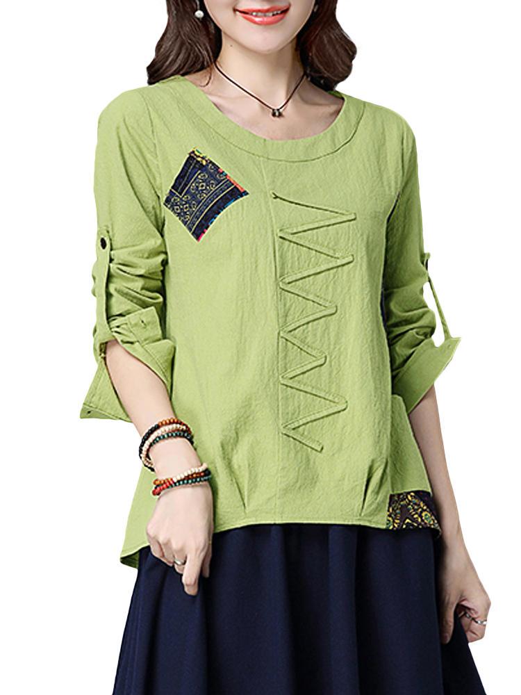Vintage mulheres patchwork o-pescoço de manga comprida blusa de algodão fino