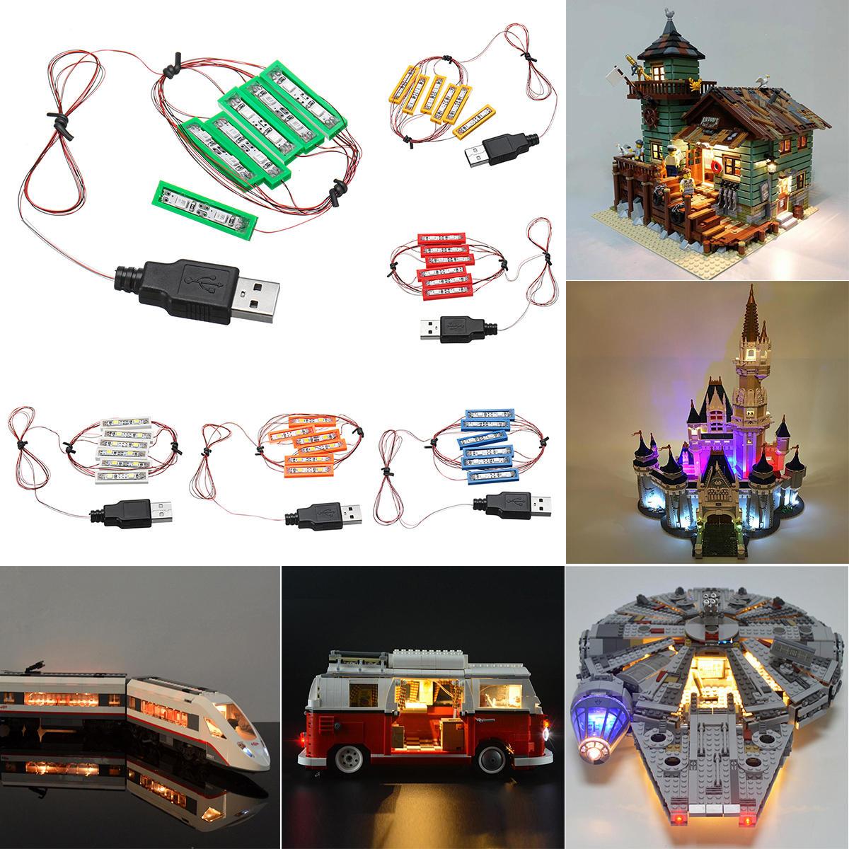 Universal DIY LED Light Brick Kit For Lego MOC Toys USB Port Blocks Accessories Decor