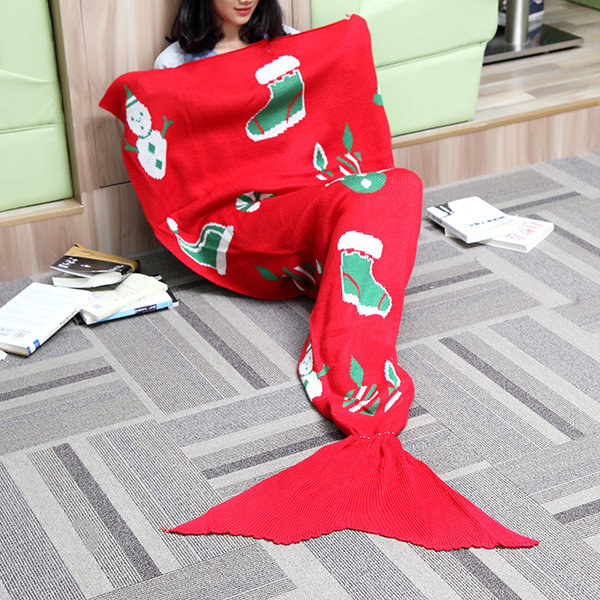 175x90cm 크리스마스 니트 인어 꼬리 담요 수제 크로 셰 뜨개질 슈퍼 부드러운 소파 베드 매트를 던져
