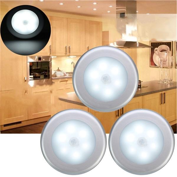 3pcs Batterie Alimenté PIR Moteur Capteur 6 LED Lumière de Nuit Blanc / Blanc Chaud Lampe pour Cabinet Couloir
