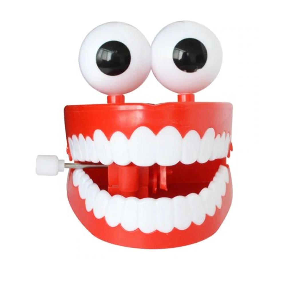 1 Unid Clockwork Jumping Teeth Red Wind Up Boca Diente Divertido Con Ojos Intermitentes Novedades Truco Juguetes