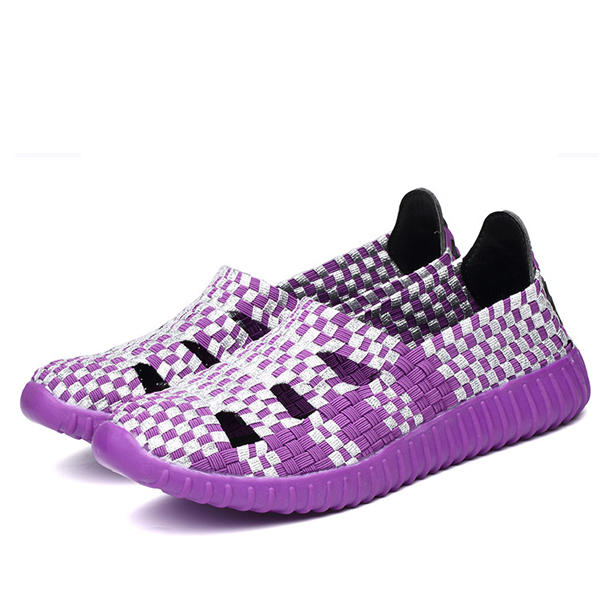 Hollow Out Knitting Weave Slip On Breathable Flat Casual Shoes