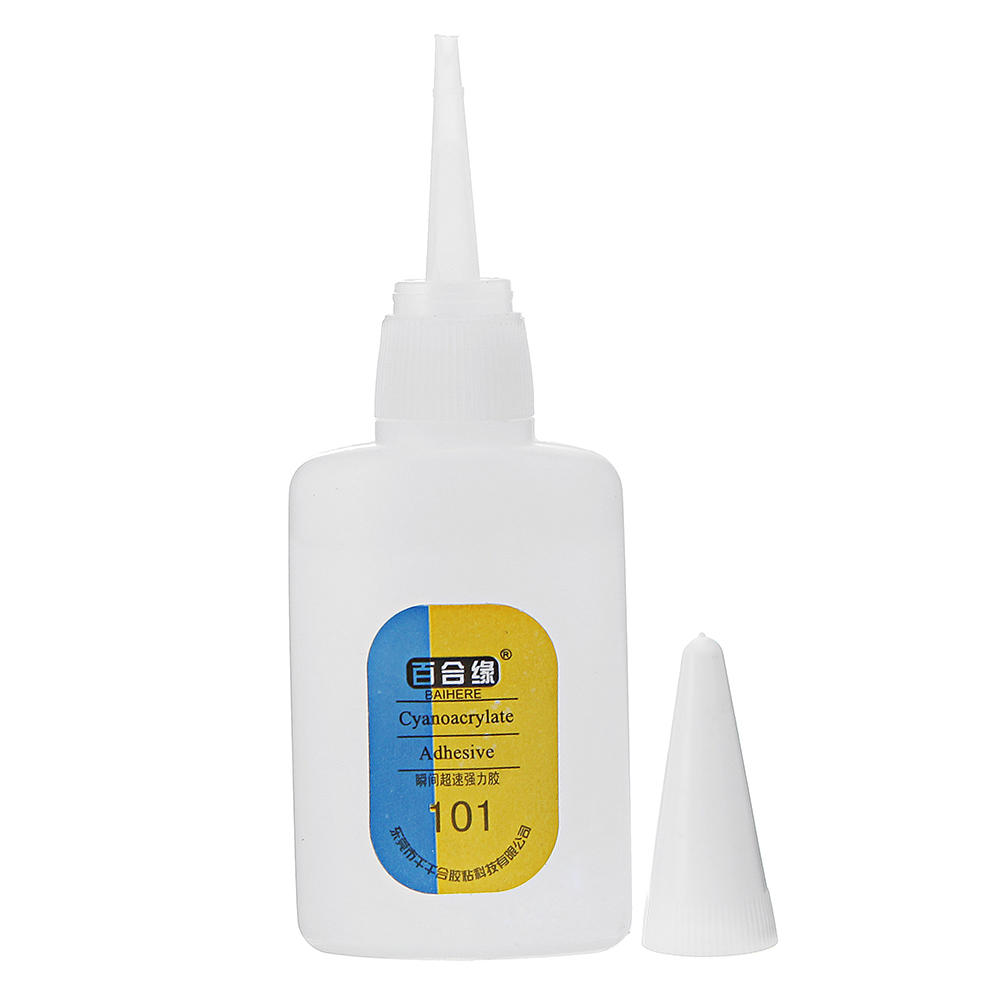 BAIHERE 101 Super Glue Instant Quick Drying Adhesive Fast Strong Bond for Leather Rubber Metal 20g