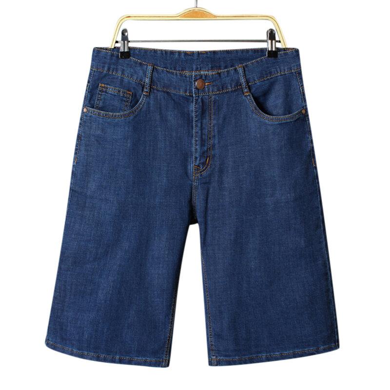5554cffced pantalones cortos de mezclilla suelta de algodón para hombre ...