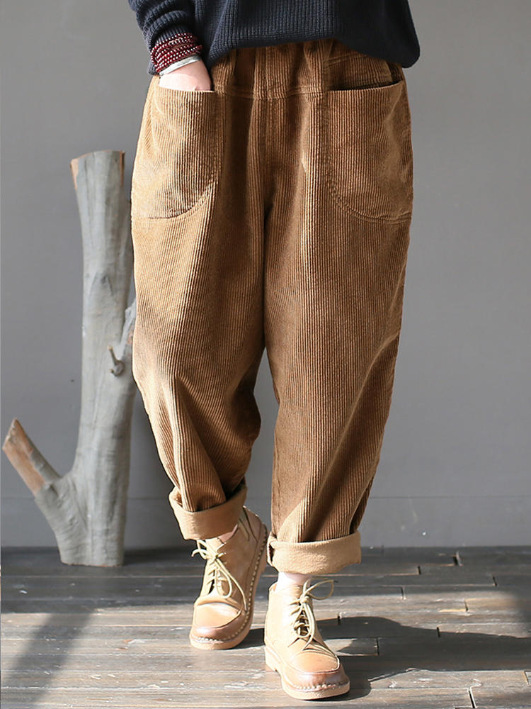 M-5XL Kvinnor Casual Pure Color Elastic Waist Corduroy Pants