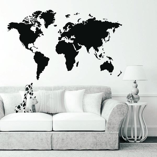World Map Removable Wall Sticker.Large Pvc World Map Removable Vinyl Wall Sticker Home Bedroom Office