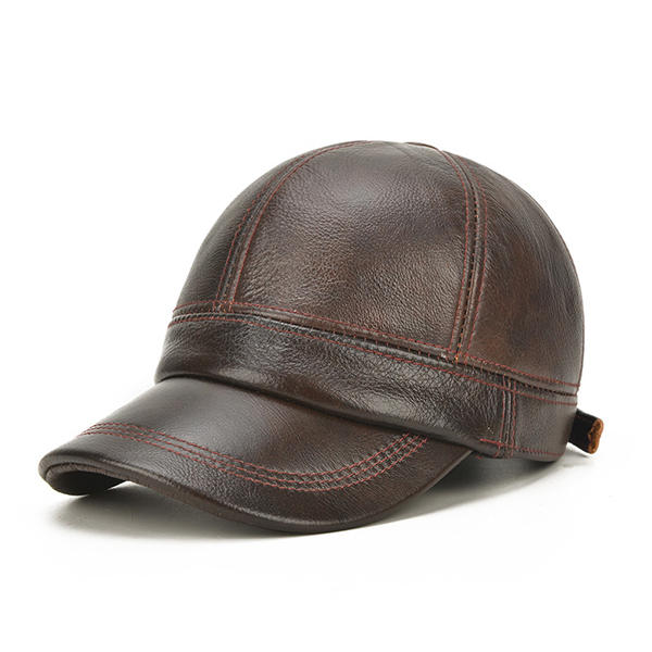 77fb90e44f2 men cowhide genuine leather baseball cap warm black brown adjustable golf  outdoor hat at Banggood sold out