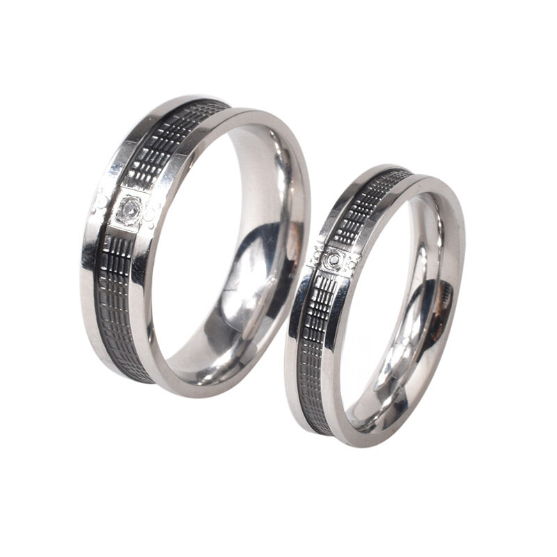 Trendy Stainless Steel Couple Rings Fashion Rhinestone Titanium Steel Couple Ring Couple Jewelry