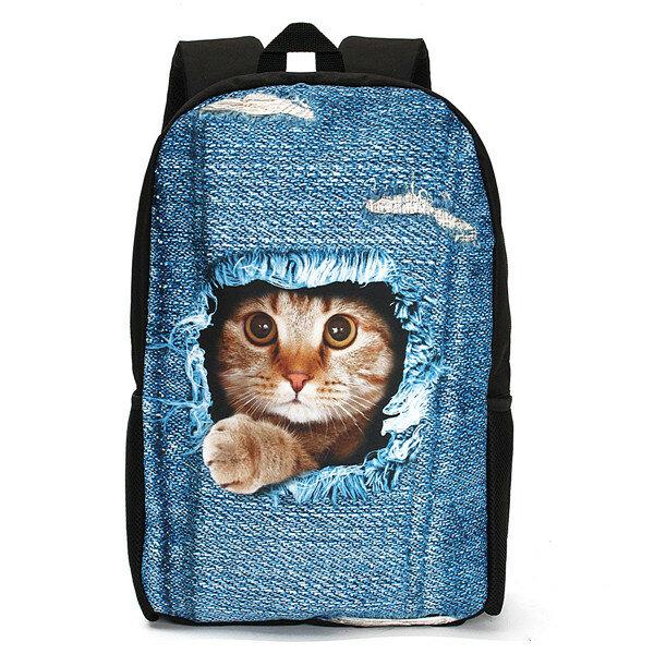 2fc05f0d0 3d gato mochila perro patrón denim escuela libro bolsa viajes bolsa ...
