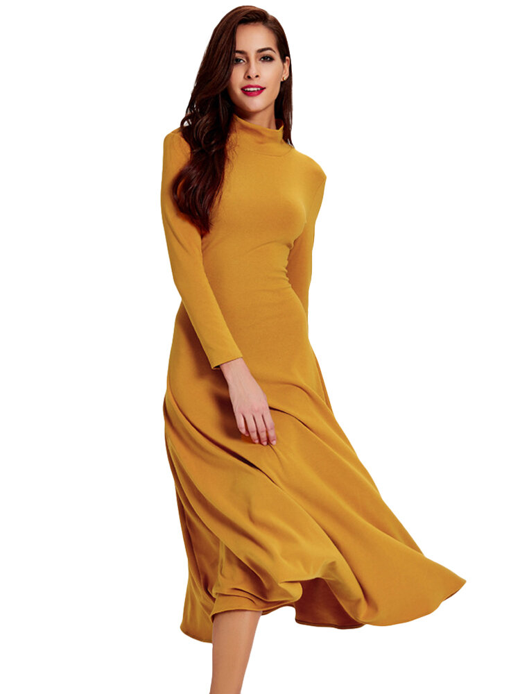 2a295f1fc4d Elegant Women Solid Turtleneck Long Sleeve Hollow Out Backless Maxi Dress  COD