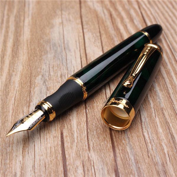 Jinhao X450 penna stilografica in marmo nero verde medio pennino in finiture oro
