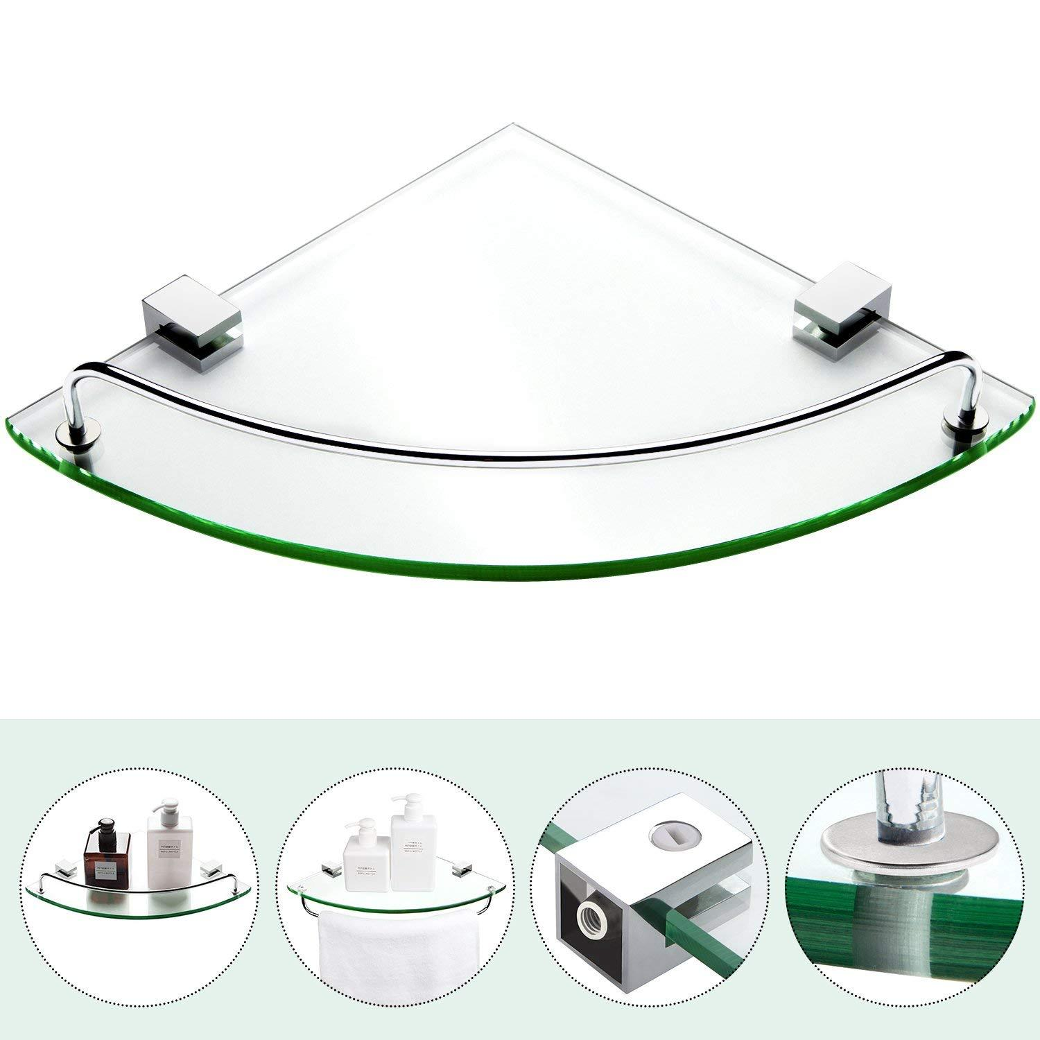 8mm Bathroom Corner Tempered Glass Shower Shelf Storage