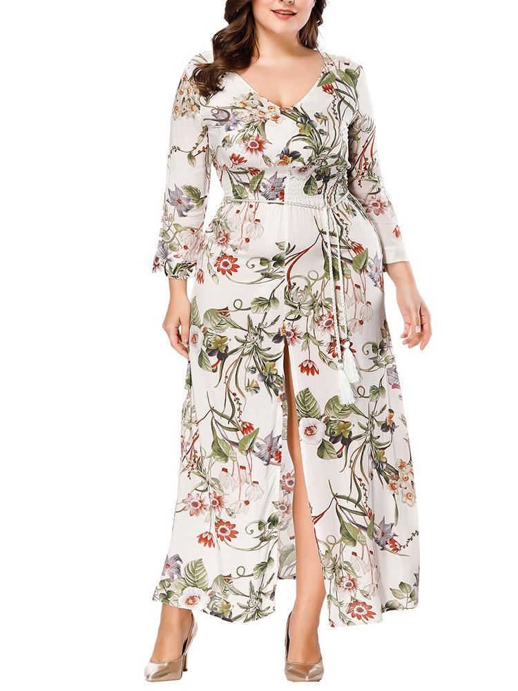ab0e3e6fbbd Plus Size Bohemian Floral Print Long Sleeve Maxi Dress - Khaki 12 COD