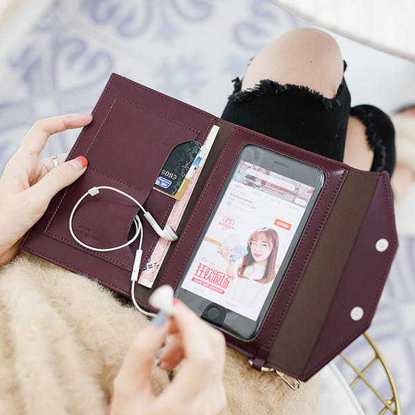 Women Multifunction Touch Screen Phone Purse 2 Card Slots Card Holder Wallet