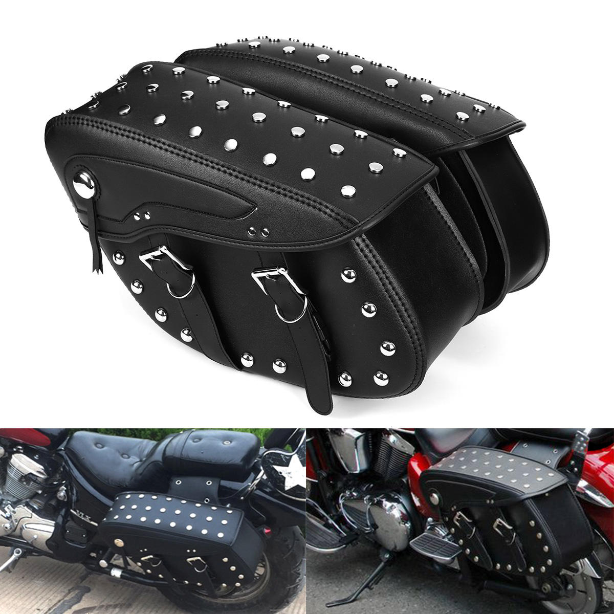 0292dd55fab0 Motorcycle PU Leather Saddlebags Side Bag For Harley Sportster 1200XL 883  COD