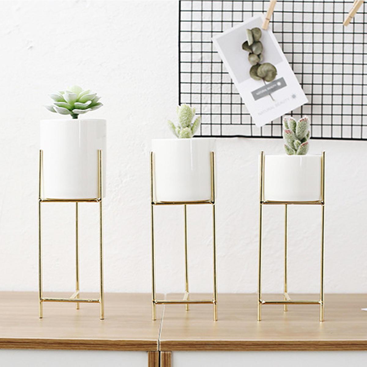 Keramik Pot Bunga Logam Rak Taman Plant Succulent Planter Stand Holder Dekorasi Hardware Dekoratif