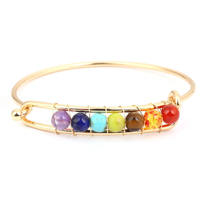 Yoga Balance 7 Chakra Colorful Beads Ball Crystal Bangle Gold Friendship Bracelet for Women