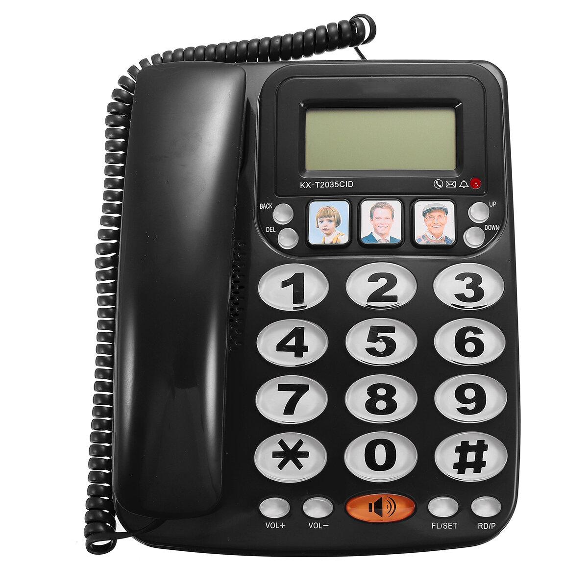 KX-2035CID Teléfono con dos líneas y teléfono con altavoz Marcado rápido Teléfono con cable Llamada entrante Pantalla con identificador de llamadas para la oficina en el hogar