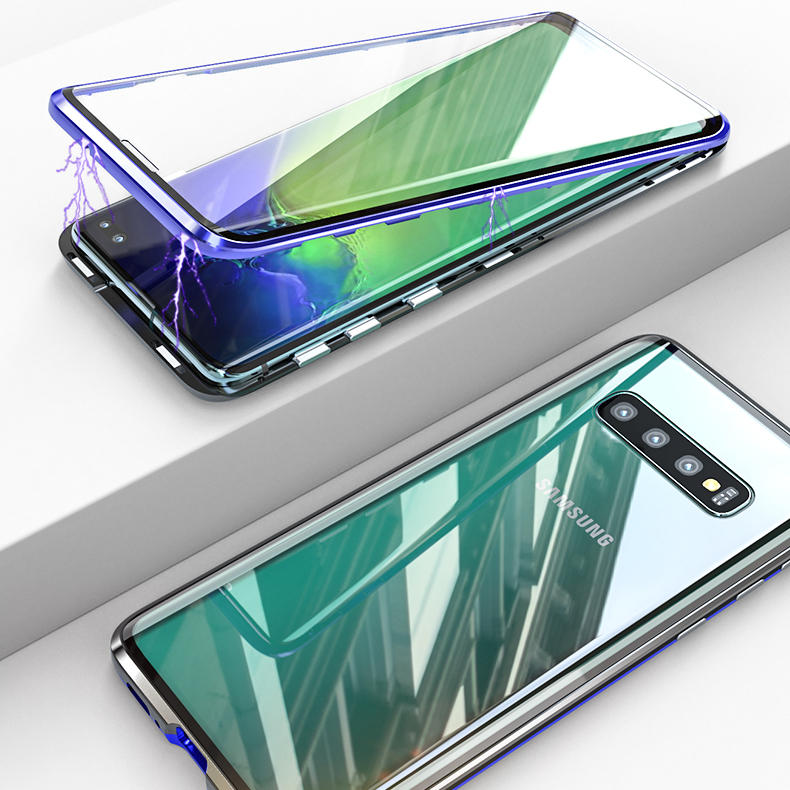 Bakeey 360º Full Body Magnetic Adsorption Aluminum Alloy Tempered Glass Protective Case For Samsung Galaxy S10e/S10/S10 Plus