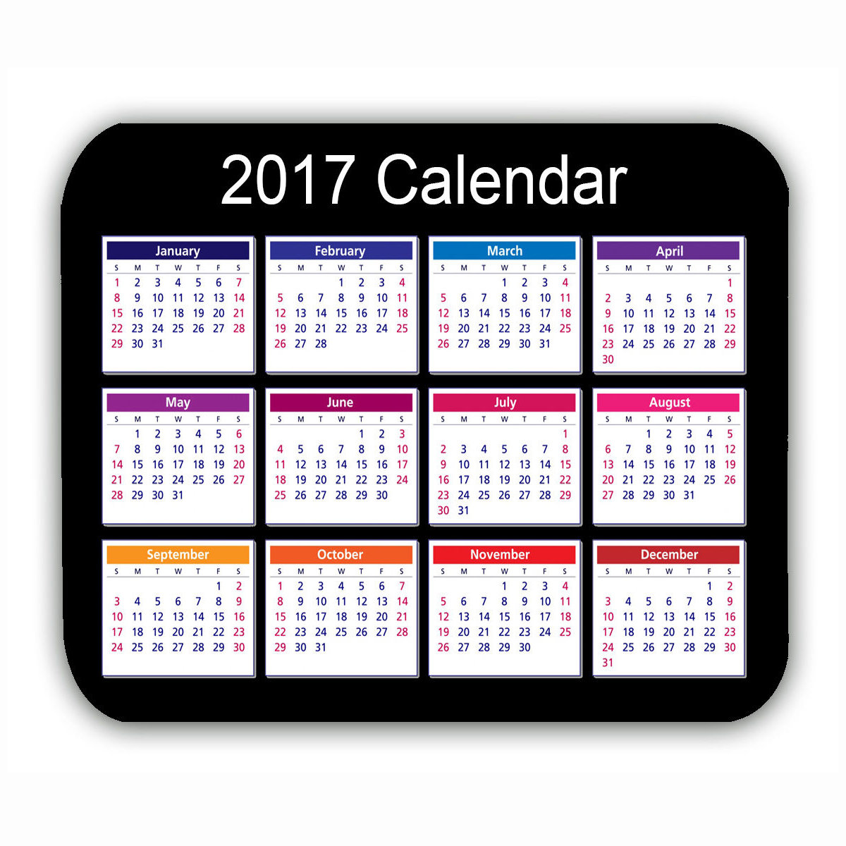 Calendario 2017 Tappetino mouse pad nero antiscivolo computer pc gaming mouse desktop