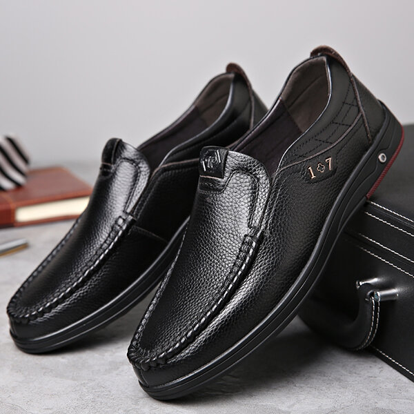 ab671f4b670 Comfy Casual Business Genuine Leather Slip On Soft Oxfords - Black 9 COD
