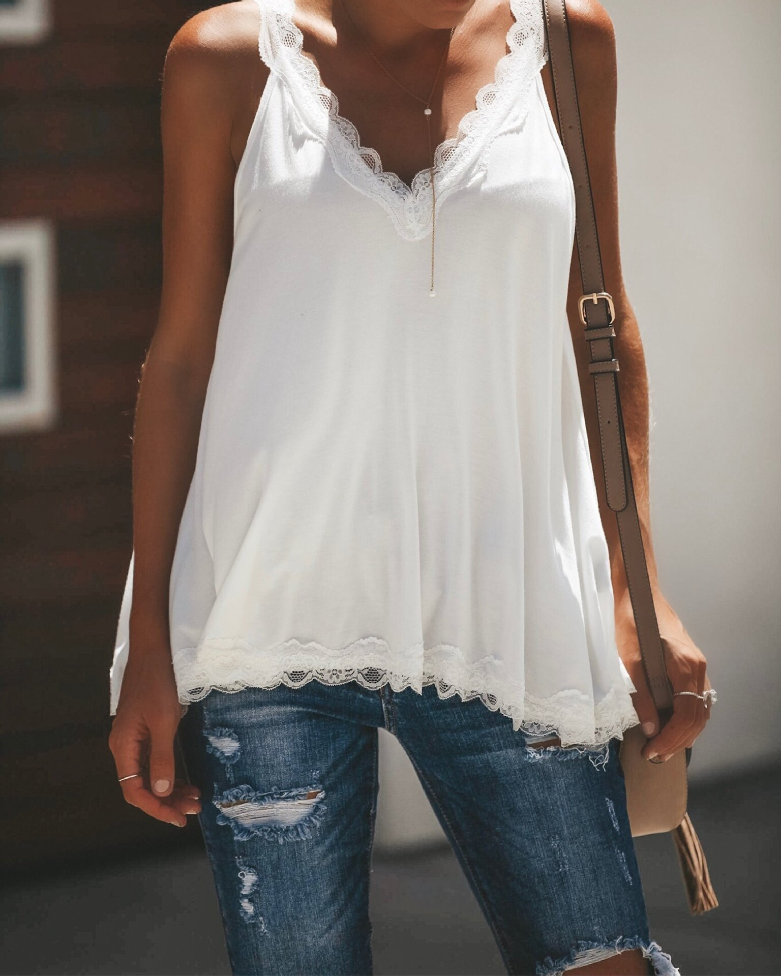 Women Casual Lace Patchwork Sleeveless Tank Tops