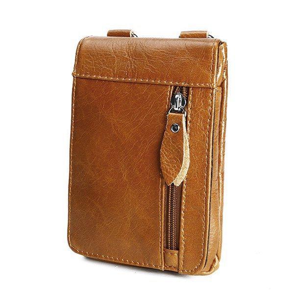 Ekphero® الرجال جلد طبيعي الخصر حقيبة الهاتف الخليوي الحقيبة فاني حزمة مع حزام الكتف